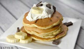 Peanut Butter Banana Pancakes With Chocolate Chips