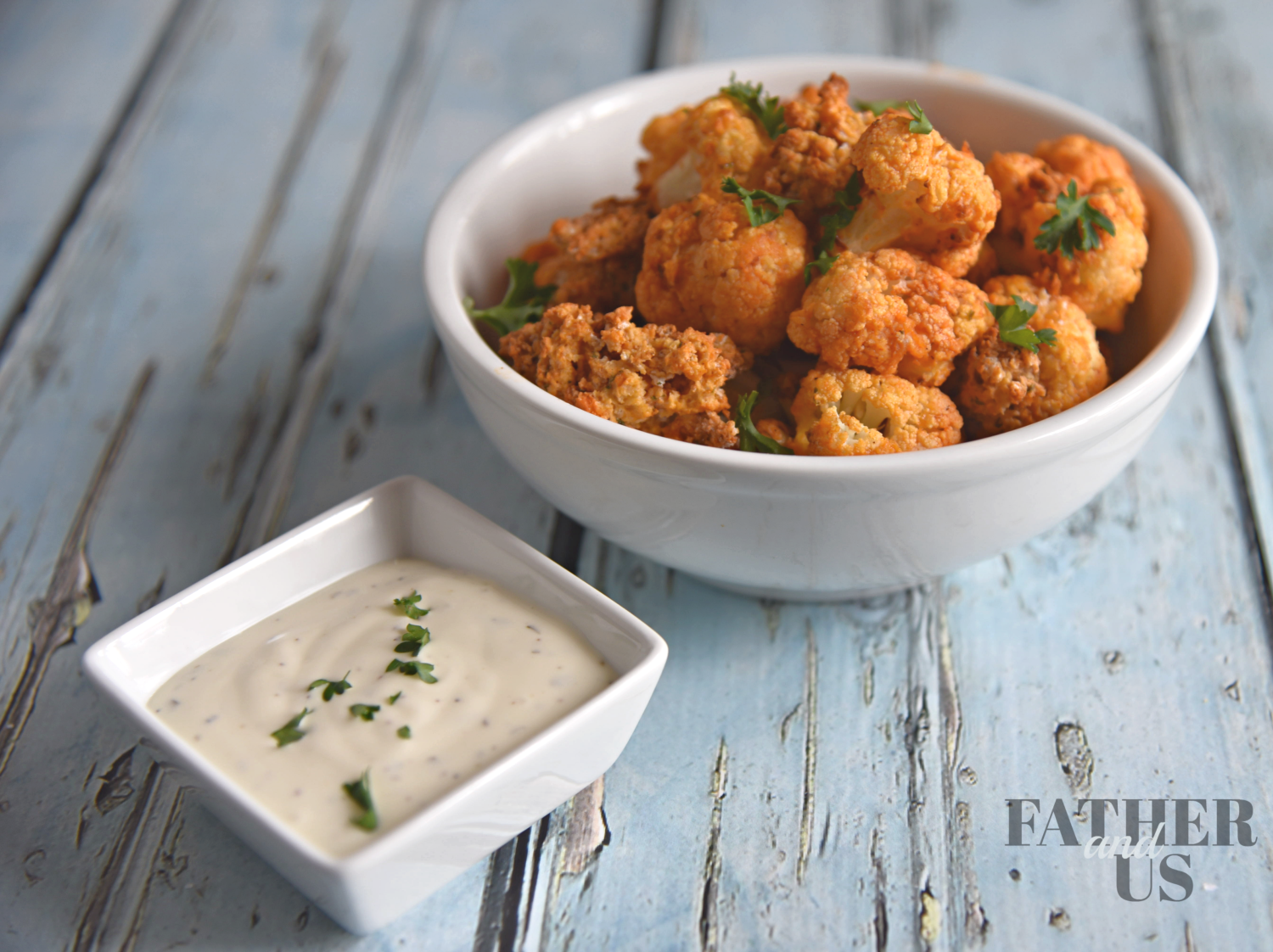 Cauliflower Buffalo Recipe is best served with Ranch dressing.