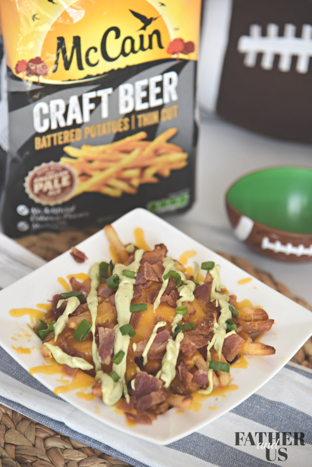 loaded fries recipe with cheese and bacon are a great game day snack
