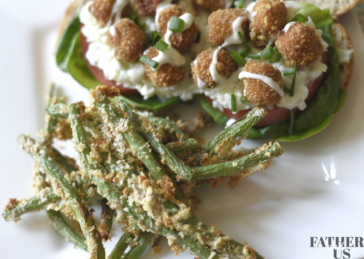 Air Fryer Green Beans with Chicken Po' Boy