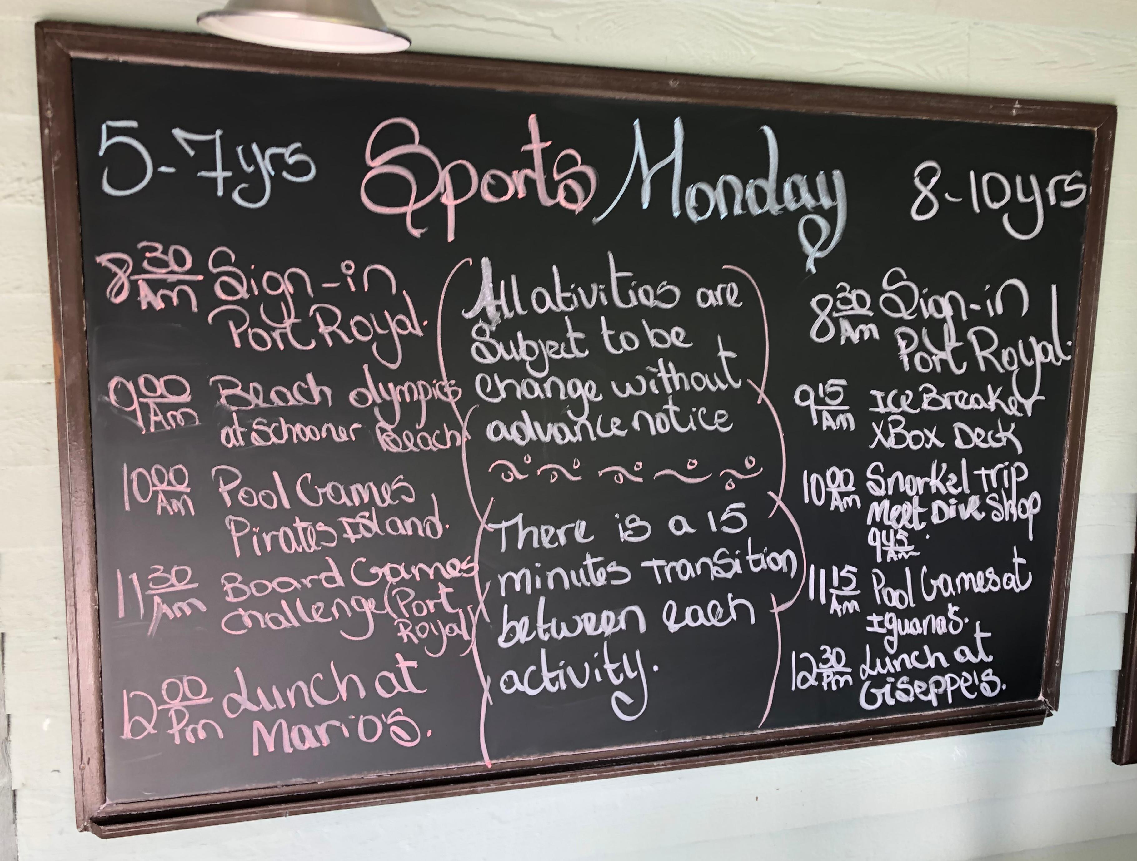 Beaches Kids Club Schedule