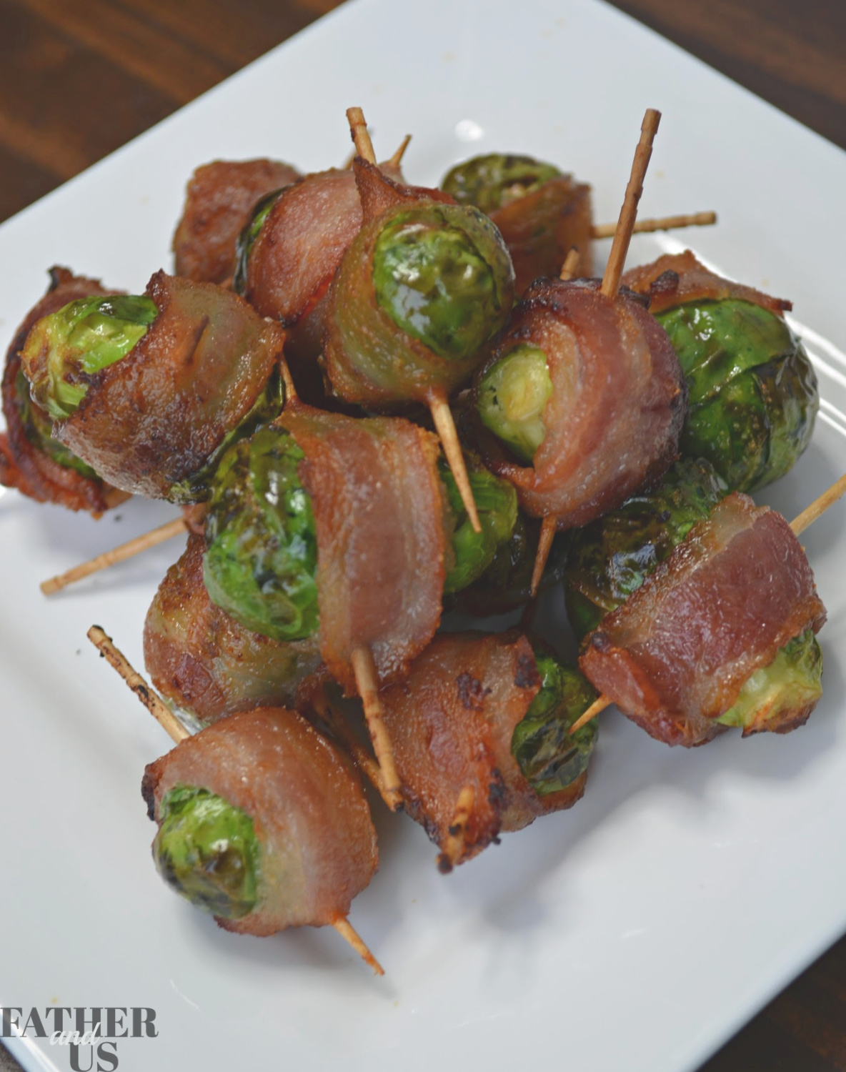Air Fryer Bacon Wrapped Brussels Sprouts with Maple Syrup