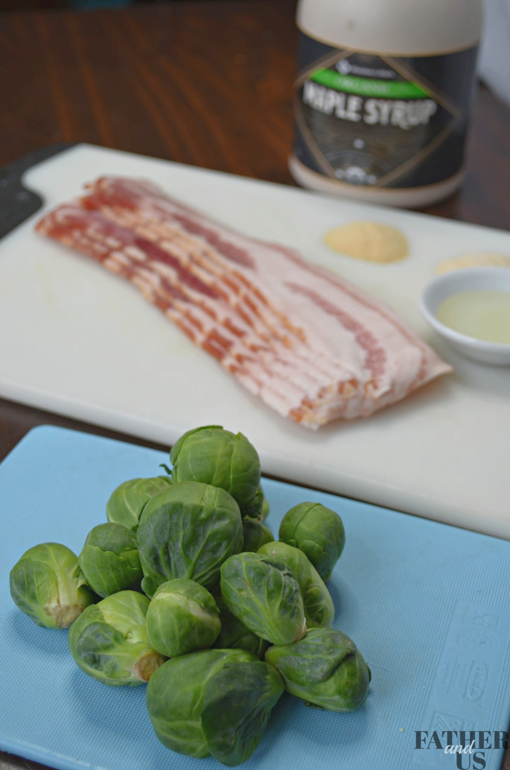 Air Fryer Brussels Sprouts with Bacon and Maple Syrup Ingredients