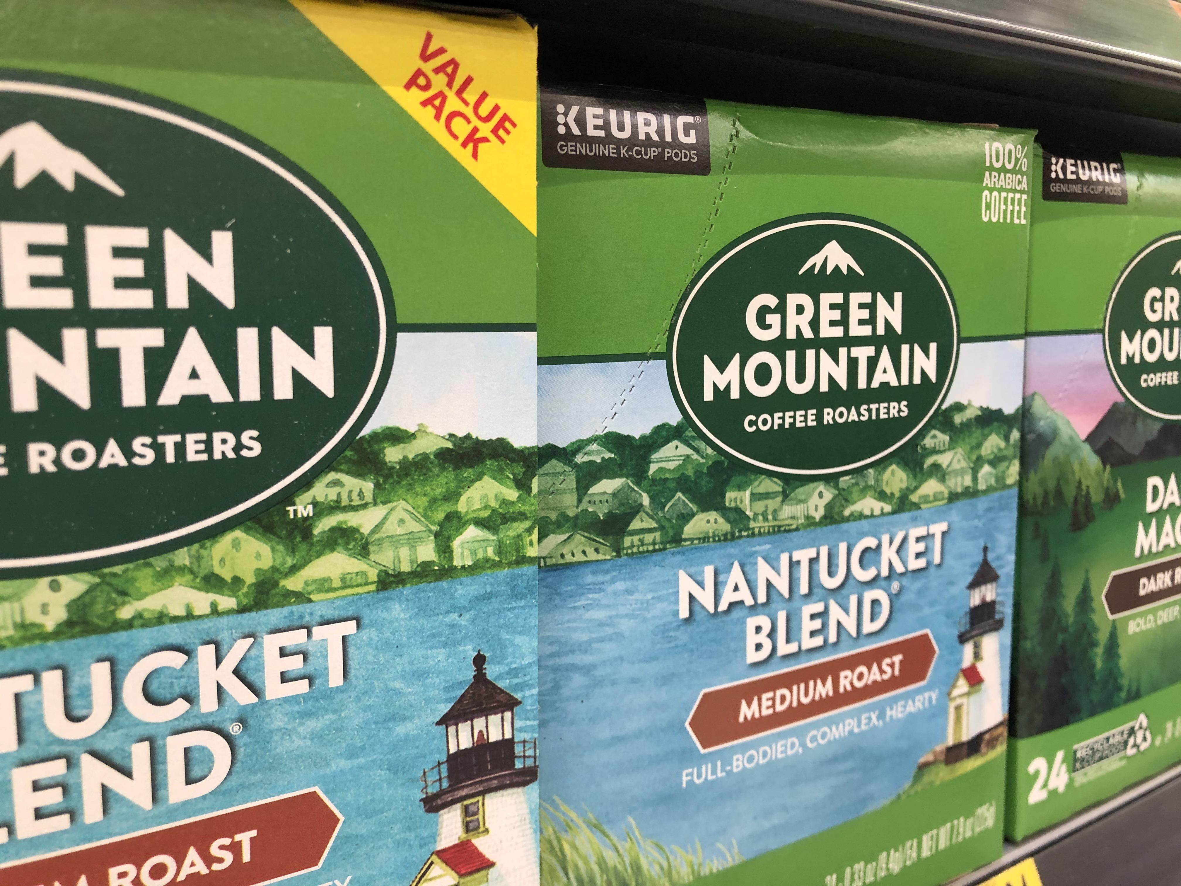 Green Mountain Coffee on shelf