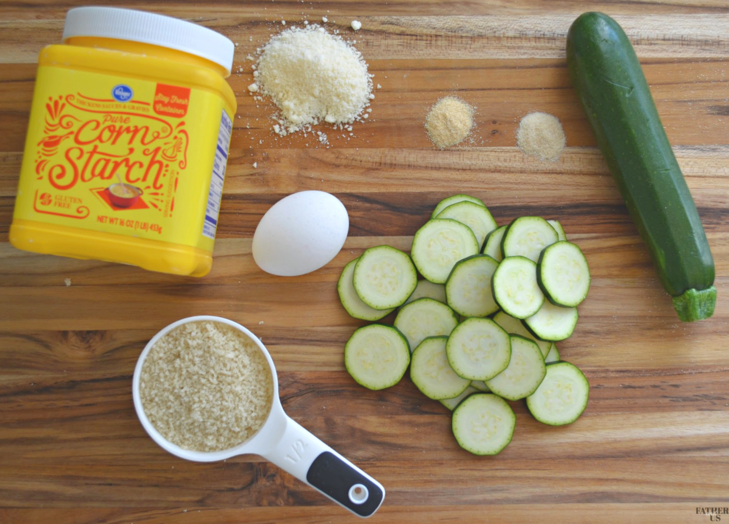 Air Fryer Zucchini Chips Ingredients include corn starch panko bread crumbs and garlic powder