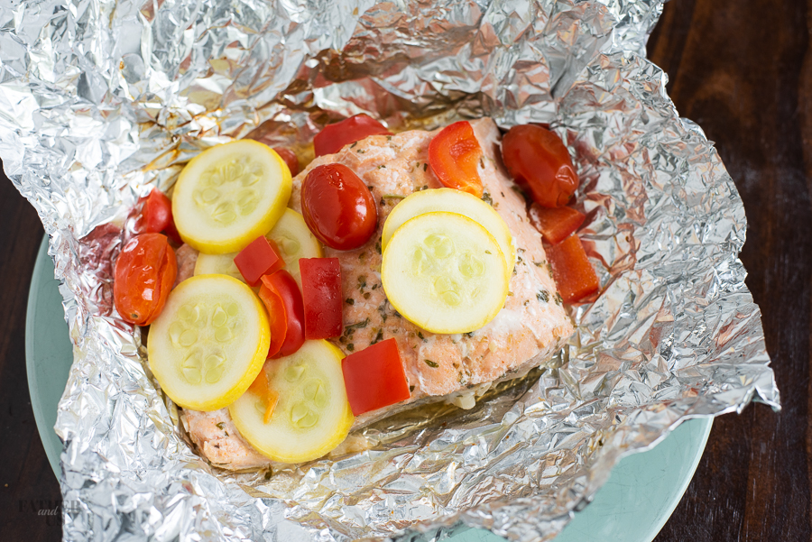 Mediterranean Salmon Going Into Foil Packet