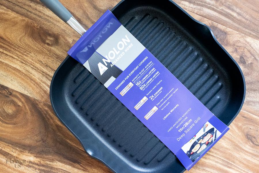 a closeup of a Anolon grill pan