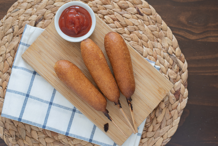 Air Fryer Corn Dogs are a quick and easy way to eat your favorite State Fair Food!