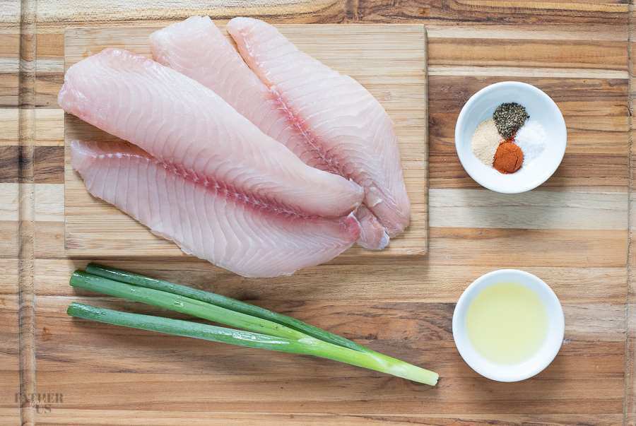 Air Fryer Tilapia Ingredients include garlic powder, paprika and olive oil.