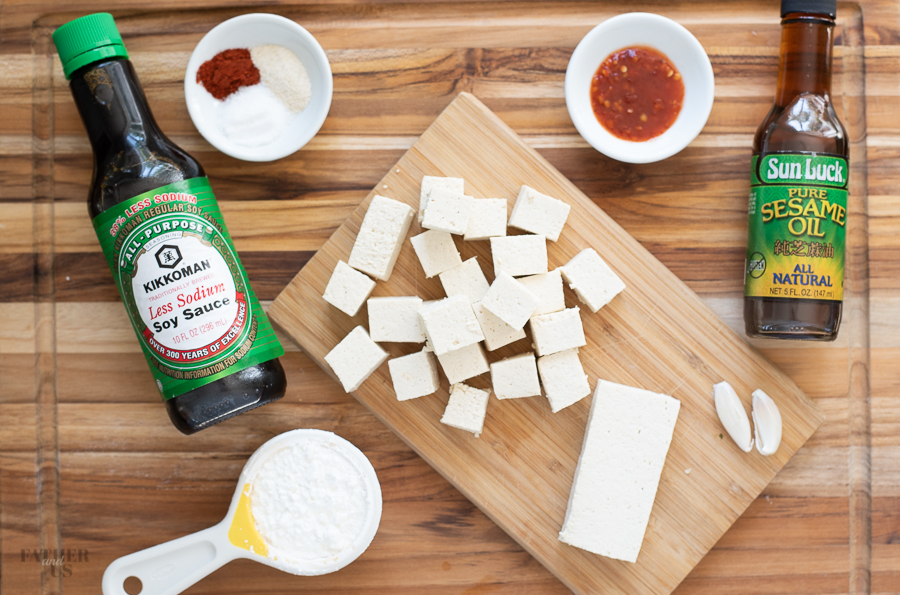 Air Fryer Tofu Ingredients include garlic, soy sauce and sesame oil.
