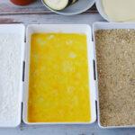 Set flour, egg wash and seasoning for eggplant