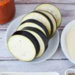 Slice eggplant parmesan into thick slices